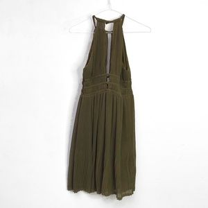 H&M Olive Pleated Halter Flowy Deep V Dress NEW! 6